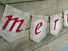 MERRY Burlap Christmas Banner / Holiday Home Decor / Christmas Garland