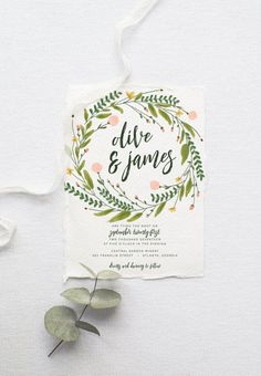 Rustic Bohemian Wedding Invitation Suite // Watercolor Wreath and Modern Calligraphy