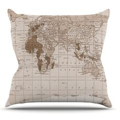 KESS InHouse Emerald World by Catherine Holcombe Vintage Map Throw Pillow
