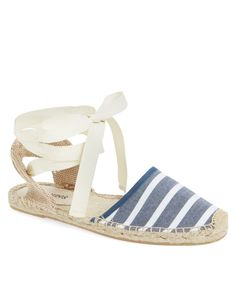 striped lace-up espadrille flat