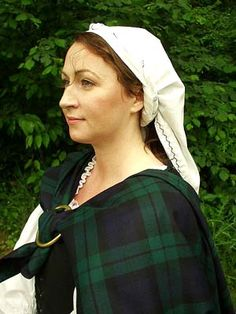 Traditional Scottish Head Kertch- This beautiful kertch is made from your choice of linen or 100% natural muslin! The embroidered blackwork that adorns each of our kertch is the crowning touch...each kertch is carefully hand-crafted and unique. (http://www.mistythicket.com)