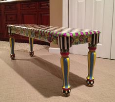 Hand Painted Farmhouse Bench by paintingbymichele on Etsy, $325.00