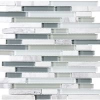 x Sample - Bliss Waterfall Random Strip Glass and Stone Mosaic Tiles - contemporary - tile - by Rocky Point Tile Stone Mosaic Tile, Mosaic Wall Tiles, Mosaic Glass, Marble Mosaic, Backsplash Tile, Glass Tiles, Backsplash Ideas, Tile Ideas, Gray Kitchen Backsplash