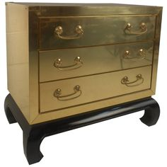 Midcentury Mastercraft Style Brass Bound Dresser | From a unique collection of antique and modern dressers at https://www.1stdibs.com/furniture/storage-case-pieces/dressers/