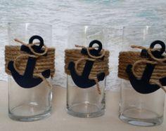 Set of 3 Starfish & Burlap Beach Vase by ParadiseBridal on Etsy