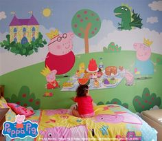 bedroom peppa pig wall mural murals decor playroom princess kid christmas pigs rooms rose disney discover toddler install walls