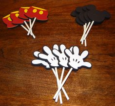 Mickey Mouse Cupcake Toppers - Birthday Supplies, Party Supplies, Party Decorations. $10.00, via Etsy.