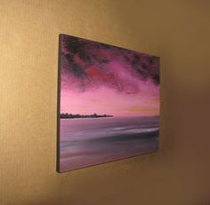 Jewel toned beach painting serene pink sunset by TheEscapeArtist