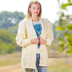 SUPERTANYA IVORY Hand Knitted Non Mohair Wool Sweater Cable Knitted Cardigan #SuperTanya #BasicCoat