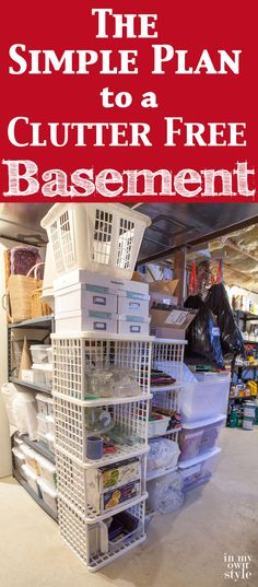 How to declutter and clean out your basement and then keep it that way. Doable a… How to declutter and clean out your basement and then keep it that way. Doable and affordable tips that work. Declutter Your Home, Organizing Your Home, Organizing Tips, Decluttering Ideas, Organising, Declutter Bedroom, Basement Renovations, Basement Ideas, Basement Layout