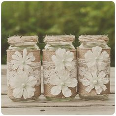 Burlap and lace mason jars diy with pearls and paper flowers - wedding crafts, homemade mason jars