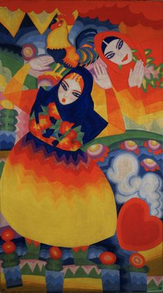 Folk Motif – Women and Rooster (1918-19), gouache on paper by Winold Reiss (ymutate)