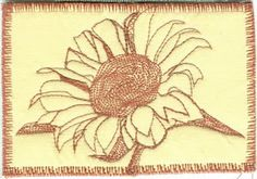 Thread sketching Fabric Postcard