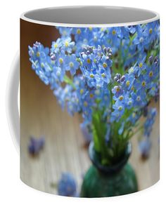 Forget me nots in green vase Coffee Mug by Ren Kuljovska.  Small (11 oz.)   Combination of blue and green color.  #forgetmenot #symbolicflower #blueandgreen #fineartprint #mug #canvasprint #flowerpower #flowerromance Unique Gifts For Men, Gifts For Girls, Mugs For Sale, Art For Sale, Brian Cunningham, Camera Art, Blue And Green, Green Vase, Pin Pin