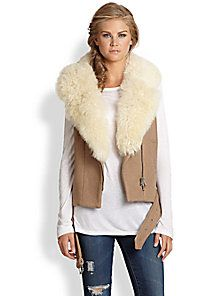 Rebecca Taylor - Stretch-Wool & Shearling Moto Vest - Saks Fifth Avenue Mobile