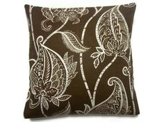 Two Chocolate Brown White Pillow Covers Bold Modern Leaf Design Accent Throw Toss Covers 16 inch. $30.00, via Etsy.:pillows for couch
