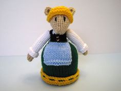 Hand Knit Country Mouse Doll Children's Stuffed Toy by KnitToo, $15.50