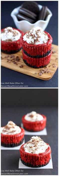 MINI RED VELVET CHEESECAKES  ==CRUST== 15 Oreos, 3 T unsalted butter, ==CHEESECAKE FILLING== 16 oz cream cheese, 2 T sour cream, ¾ c granulated sugar, ¼ c cocoa powder, 1 t vanilla extract, 2 T red food colouring, 2 large eggs ====