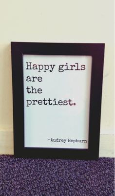 """hope fully project: """"Happy Girls Are The Prettiest"""" Audrey Hepburn quote and free printable #ontheblog"""
