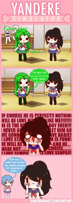 Yandere Comic - Bad Answer by DancerQuartz on DeviantArt soo exicited for this game to come out Yendere Simulator, Yandere Simulator Memes, Yandere Manga, Yandere Girl, Yandere Stories, Video Minecraft, Ayano X Budo, Vocaloid, Sims