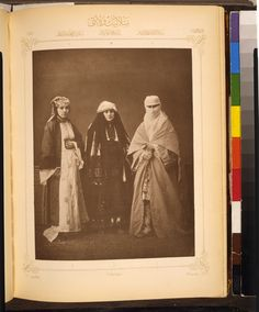 Studio Portrait of Models Wearing Traditional Clothing from the Province of Selanik (Salonica), Ottoman Empire