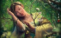 Find More Painting & Calligraphy Information about asian oriental fantasy art women females face eyes pov trees blossoms flowers forest mood Home Decoration Canvas Poster,High Quality canvas poster,China fantasy art Suppliers, Cheap fantasy women art from AtFipan Fashionable Art Decor Co. Store on Aliexpress.com