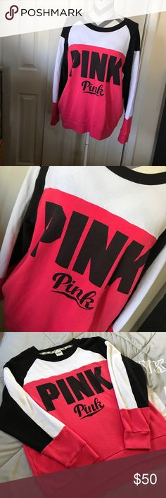 🖤PINK SWEATSHIRT🖤 Only worn a few times and in excellent condition! Only Flaw is some fading in the lettering no fading in the other black! Size large this color block pullover is perfect for the upcoming cooler months!! BUNDLE AND SAVE 😘💖👍 white black and a dark coral pink color! PINK Victoria's Secret Tops Sweatshirts & Hoodies