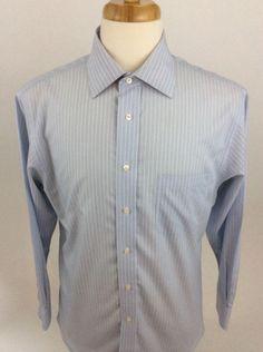 Jos A Bank Mens Shirt 15 1/2 32 Blue Long Sleeve Button Front 100% Cotton J25 #JosaBank