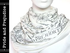 Pride and Prejudice book scarf - Ivory - Text Scarf - Book - Jane Austen - Quotes - Infinity scarf - Gift by LiteratiClub on Etsy https://www.etsy.com/listing/207219767/pride-and-prejudice-book-scarf-ivory