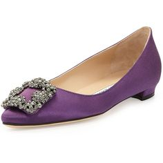 Manolo Blahnik Hangisi Crystal-Buckle Satin Flat ($955) ❤ liked on Polyvore featuring shoes, flats, purple, pointed toe shoes, satin shoes, buckle flats, purple satin flats and purple satin shoes