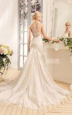 Sheath Long Bateau Cap-Sleeve Illusion Lace Tulle Dress With Appliques And Pleats