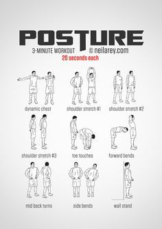 Instructions: Repeat each exercise for 20 seconds one after the other with no rest in between. What it works: Deltoids pecs biceps neck muscles lower back core exterior and interior obliques trapezius infraspinatus (higher back muscles) hamstrin Gym Workout Tips, At Home Workouts, Parkour Workout, Heavy Bag Workout, Desk Workout, Calisthenics Workout, Workout Equipment, Plyometrics, Toning Workouts