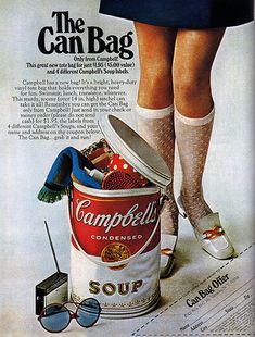 vintage advertising | Vintage ad featuring a The Can Bag from Campbell's, 1960s