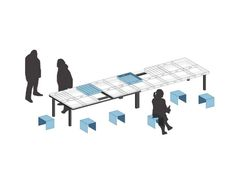 TABLE FOR A CITY / The editable concept is beeing supplemented by steel cubic seats.