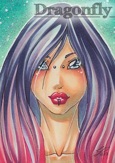 """#52 """"Pink""""  Illustration, Copic Art, Comic, Manga, ACEO Card / Kakao-Karte by Dragonfly Artworks"""