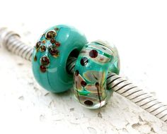 Teal European charm beads, Large Hole beads, Teal green Glass bracelet beads, Turquoise Artisan lampwork, SRA, by MayaHoney by BeachSpot on Etsy