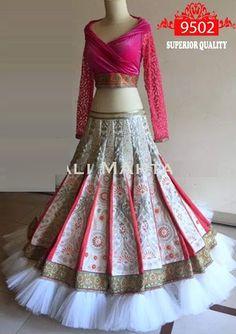 Gown Neck White And Pink Lehenga Choli   Zakasi.com