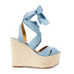 Polo Ralph Lauren Ethne Denim Espadrille ($295) ❤ liked on Polyvore featuring shoes, sandals, ankle wrap sandals, platform espadrilles, espadrille sandals, platform sandals and wedge heel sandals