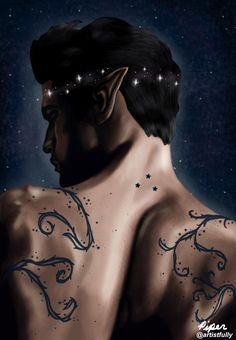 """andrwmineyard: """" """"High Lord of the Night Court"""" """" digital painting of my fave Rhysand from A Court of Mist and Fury by @sjmaas Redbubble Instagram """" """""""