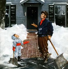 Snow Shoveling, art by George Hughes.  Detail from December 29, 1951 Saturday Evening Post cover.