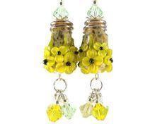 Yellow Flower Earrings, Lampwork Glass Bead Earrings, Handmade Glass Bead Earrings