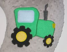 Boppy Slipcover, Boppy Cover, Green Tractor, Ready To Ship, Farm, Grey Minky, Baby Shower Gift, Nursing Pillow Cover