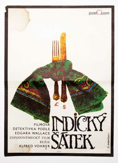 Indian Scarf | Jindrich Cech's vintage poster for the UK movie | Czechoslovakia, 1971 | 70s Movie Posters| jozefsquare.com