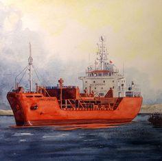 "Cargo ship ""Trans Emerald"" watercolor on paper 30x30 cm - 100€"