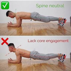 correct position of the back at the plank