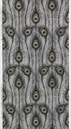 design-is-fine: Harvey Smith, sidewall Peacock Feathers, Screen printed on vinyl. Piazza Prints Inc. Via Cooper Hewitt. Design Textile, Textile Patterns, Textile Prints, Print Patterns, Peacock Art, Peacock Feathers, Peacock Images, Peacock Colors, Surface Pattern Design