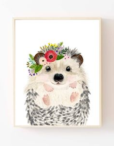Baby animals : raccoon and hedgehog Lets make your little ones room warm and enjoyable! This baby animal art prints collection features a set of 2 prints from my watercolor art collection. This set includes portraits hedgehog and raccoon Materials: Printed on beautiful high quality,