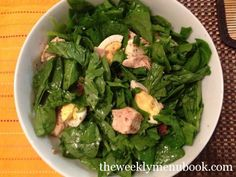 Spinach Salad with Warm Bacon Dressing & Chicken #glutenfree #caseinfree