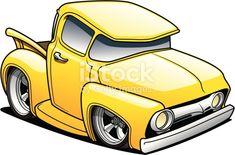 Yellow cartoon classic truck created in Adobe Illustrator. Pickup Trucks, Old Trucks, Chevy Trucks, Classic Trucks, Classic Cars, Carros Retro, Cartoon Car Drawing, Cars Cartoon, Cool Car Drawings