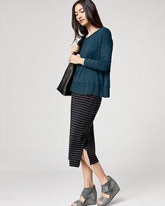 Eileen Fisher Double-Knit Merino Stripe Pencil Skirt Fall 2016